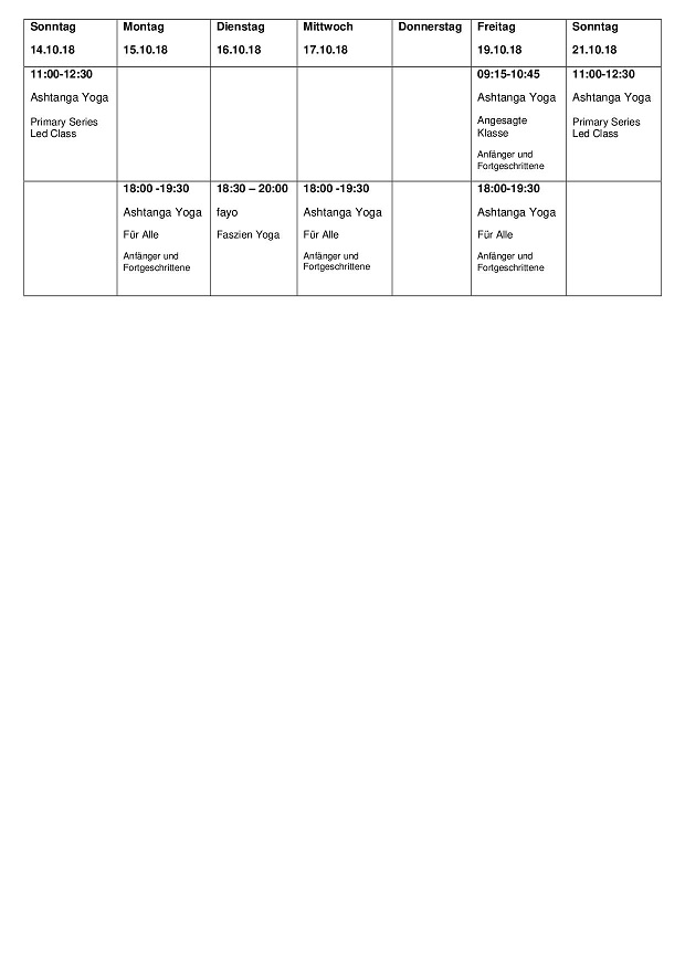 Tabelle Herbst 2